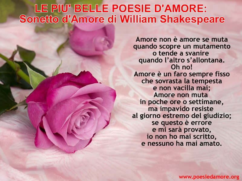 SONETTO D'AMORE WILLIAM SHAKESPEARE